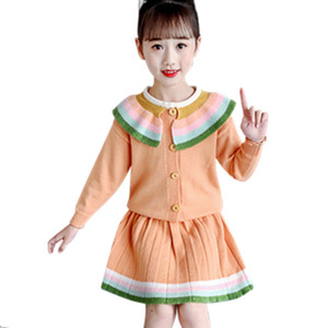 Winter Girls Sweater Clothing Set Children Knitwear Sweater & Skirt 2 Pieces Dress Suit Teenage Kids Clothes 6 8 10 12 13 Years Y1117