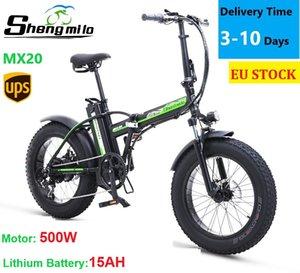 EU MX20 Складная электрическая 500 Вт Горный велосипед 15ah 20 дюймов Жирная шина Велосипед Сити Мопед Бик-Бийк Cruiser Shengmilo E-Bike