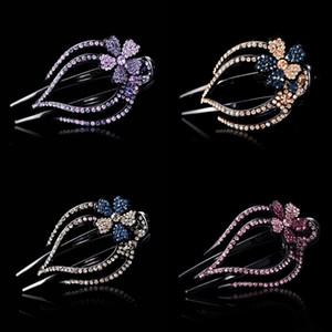 Kadınlar Kristal Rhinestone Duckbill Klip Mücevherat Çiçek Desen Lady Moda Zarif Firkete Çok Renkli Saç Aksesuarları 2 3YR J2