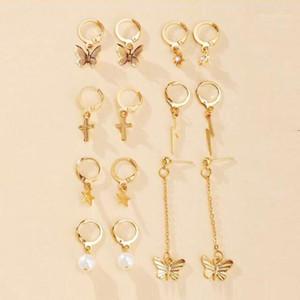 7 Pairs set Geometric Star Cross Butterfly Earrings for Women Female Mini Gold Hoop Earings Pendants Drop Dangle Earring Jewelry1
