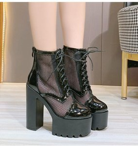 2020 Spring And Autumn New Hollow Mesh 14cm High Heel Thick Heel Ankle Boots Platform Thick Bottom Nightclub Short Boot Shoes