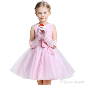 Flower Princess Dress Bowknot formal dresses little girls Wedding Birthday Party Puff Ball Skirt Costume Tutu Dress Bridesmaid