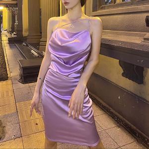 Mujer sexy suspender vestido moda elegante noche vestido de fiesta sólido color púrpura sin respaldo plisado1