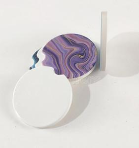Sublimation Blank Car Ceramics Coasters 6.6*6.6cm Hot Transfer Printing Coaster Blank Consumables Materials free fast sea shipping 2021