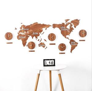 Wooden World Map Wall Clocks Map Decorative Design Home Decor Modern European Style Round Silent Wall Stick Clock sea shipping GWB4119