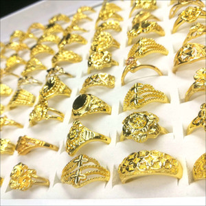 50pcs   Gold Plated Gold Ring Fashion Design Charm Ring Hip Hop Dance Party Ladies Jewelry