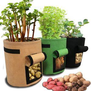 4 7 10 Gallon Plant Grow Bags Visualizzazione Visualizzazione di tessuto addensato pesanti Piantatura di piante per verdure di patate con maniglie a flap Giardino