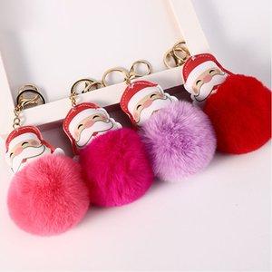 Plush Christmas Keychain Santa Keychain Pendant Christmas Gifts Bag Car Pendant Christmas Decorations Xmas Party Favor PPD3323