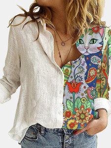 Fashion Stitching Retro Cat Print Long Sleeve Blouse Spring Autumn Lapel Button Casual Top Lady Plus Size Cotton Polyester Shirt