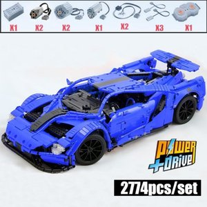 NEW MOC FORD GT Sport Car MOC-10792 RC Engine Power Function Vehicle Fit Building Block Bricks Model Kid Toy Gifts Z1201