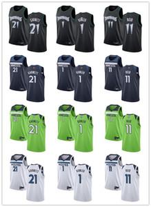 Erkek Kadın GençlikMinnesotaTimberwolves1 Noah Vmnleh 11 Naz Reid 21KevinGarnett Gümrük Beyaz Donanma Basketbol Forması
