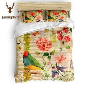 FamilyDecor Patrón dibujado a mano Papel pintado Loro Flor Mariposa Juego de ropa de cama de lujo Edredón Juegos de cama 3D King Tamaño rojo azul1