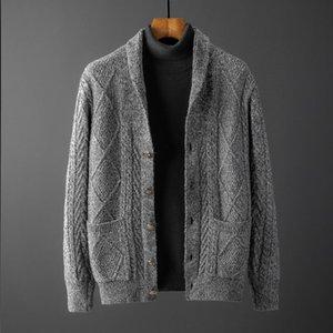 Minglu Herbst Herren Dicke Sweatercoat Jacquard Turn Collar Button Pullover Mantel Oberbekleidung Winterjacke Kaschmir Liner Pullover