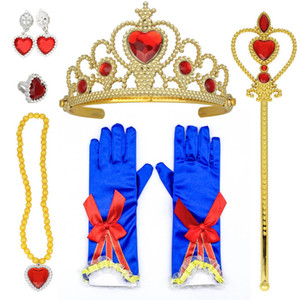 8pcs Princess Dress up Accessories For Girls Princess Party Favors Gifts Set Including Crown Wand Necklace Gloves Red Bow Headband HH21-19