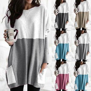 Women Oversize Clothing Round Neck Long Sleeve Stitching Casual Pocket Top Simple Loose Top Autumn and Winter Shirts