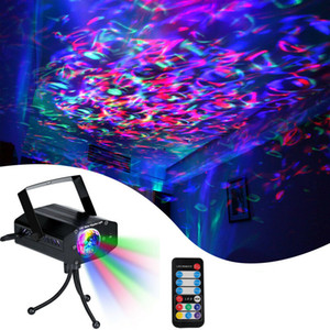 RGB LED Water Ocean Ripple Effect Stage Lights Meteor Laser Projector Lighting Christmas Disco Bars DJ 7-color Dynamic Lamps Outdoor Decor