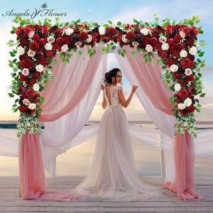 140CM Custom burgundy wine red artificial flower wall garland table centerpiece wedding backdrop decor party cornor flower row Q1126