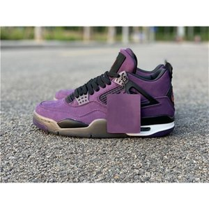 2019 Newest Authentic 4 Travis Scott x 4S Cactus Jack IV Limied Shoes Purple Suede Sports Sneakers With Box 308497-510