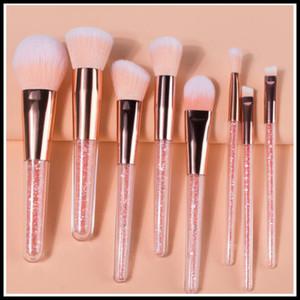 8Pcs Colorful Synthetic Foundation Make up Brush with Crystal Handle Face Powder Blush Eye shadow Brushes Travel Makeup Brush Kit