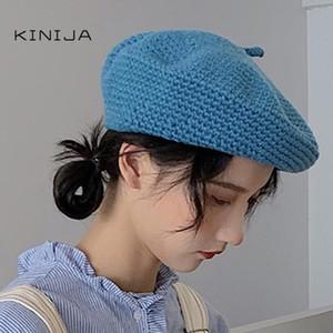 Meilleures femmes Béret Automne et Hiver Craft Hat Feutre Décoration des cheveux Britannique Rétro Laine peintre Octagonal Chapeau tricoté Chapeau de marche