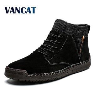 Vancat Brand Winter Men Ankle Boots Quality Leather Shoes Warm Men's Snow Boots Winter Shoes Fur Men's boots Shoes Size 38-48 201119