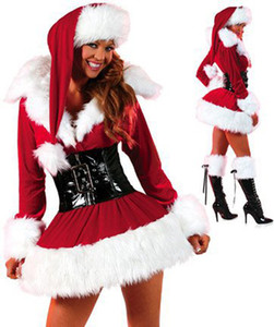 Hot Sell Mascot Costumes Christmas Clothing Womens Christmas Dress Red Long Sleeve Fur Skirt Hot Styles DHL free shipping