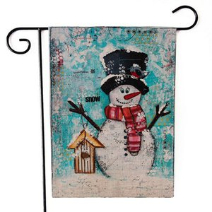 Christmas Hanging Flag Flax Santa Door Banner Merry Christmas Outdoor Ornament Christmas Decorations for Home Xmas Gift GGB2500