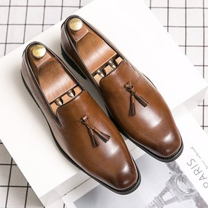 Mens Leather Loafers with Bow Tie Black Brown Casual Leather Men Dress Shoes Slip On Wedding Party Formal Shoes big size 48