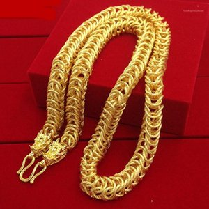 Mens Necklace Thick Chain Hip Hop Domineering Solid Yellow Gold Filled Chunky Chain Jewelry Gift1