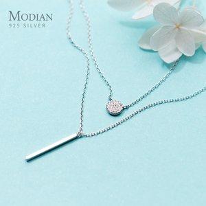 Modian Sterling Silver 925 Shining Zircon Disc Geometric Stick Pendant Necklace for Women Double Layer Necklaace Fine Jewelry Z1126