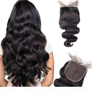 Malaysian Virgin Human Hair 6X6 Lace Closure Body Wave Hair Extensions Top Closure Natural Color Swiss Lace 8-20inch 6*6
