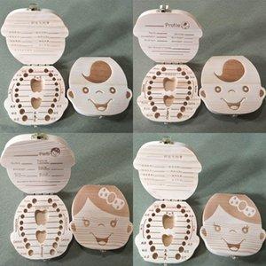 Spanische englische Zahnbox für Baby speichern Milchzähne Jungen / Mädchen Bild Holz Aufbewahrungsboxen Kreatives Geschenk für Kinder Reisekit 2 Arten 354 K2