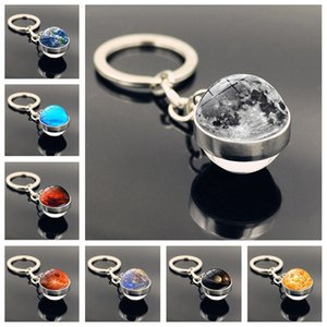2020 New Product Universe Galaxy Starry Sky Planet Time Gem Keychain Double-sided Glass Ball Moon Earth Mars Pendant Keychain DHL Free