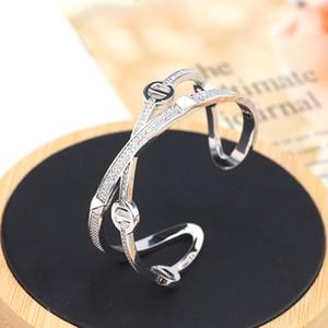 2020 Hot selling X-shaped micro zircon bracelet ring set fashion jewelry women gold bangles cuff h bracelet high quality diamonds bracelets