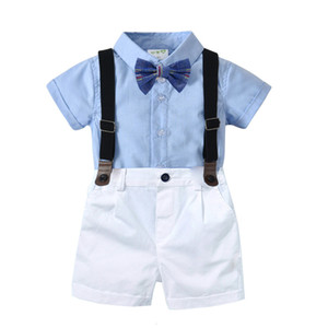 Baby Boy Clothes 2019 New Summer Lapel Tie Shirts Tops + Bib Shorts 2Outfit Sets Bebes Gentlemen Suits Tracksuit 1 2 years Y1113