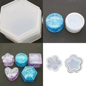 Силиконовая коробка для хранения сердца сливы цветение круговой формы формы шести углов кристалл зеркало поверхность поверхности клеевые формы 8DY L1