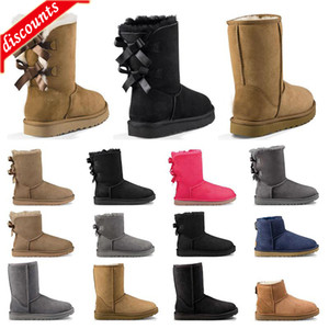 2020 women classic snow boots ankle short bow fur boot for winter chestnut black pink Grey girl booties size 36-41 fashion outdoor