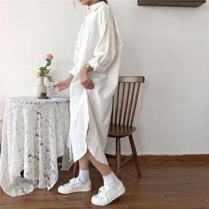 Vintage Autumn Women Long Dress 2019 Lady Long Sleeve Cotton Shirt Dress Casual Turn down Collar Loose Women Dresses Plus Size