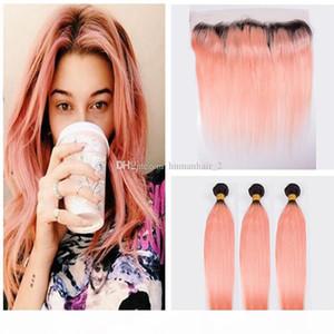# 1B Rose Gold Spitze Frontalverschluss mit Bündeln Ombre Hair 1b Rose Gold Gerade Haar 3 Bündel mit Spitze Frontals