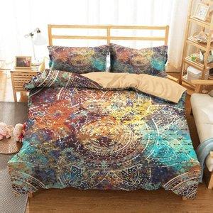 Bettwäsche-Sets König Kleidung Home Textilien Dream Mandala Gedruckt Bettdecke mit Kissenbezüge für Erwachsene Einzelgröße1
