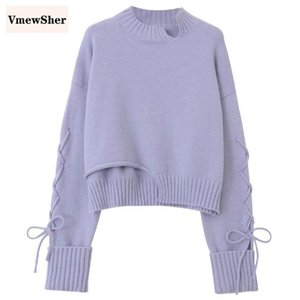 VmewSher New Irregular Sweater Women Winter Warm Knitted Pullover Loose Lace Up Long Sleeve O Neck Knitwear Elegant Jumper Top