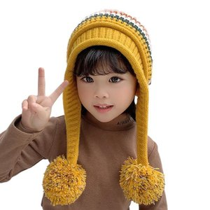 Winter kids keep warm woolen yarn hat Outdoor sports windproof knitted hat Cold proof ear protection cap 2 pcs set Party Hats CCA2733