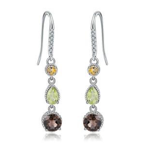 Gem's Ballet 925 Sterling Silver Earrings Fine Jewelry Natural Citrine Peridot Smoky Quartz Drop Earrings For Women Wedding J1202