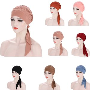 Muslim Turban Hat for Women Pre-Tied Chemo Beanies Caps Solid Color Bandana Headscarf Head Wrap for Cancer Hair Accessories New
