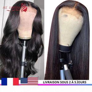 Парики человеческих волос закрывают парик предварительно сорванные монгольские прямые волосы с детским кружевом париком 30 дюймов кузовной волна быстрая в США