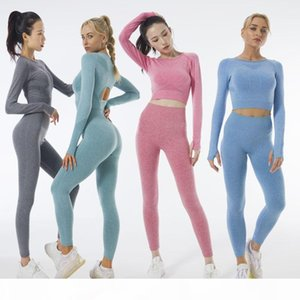 Top Seller INS Yoga Suits Seamless Knitted Autumn and Winter Fitness Suit Long Sleeve Yoga Tracksuits