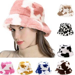 Faux Fur Winter Hats For Women Black White Cow Print Bucket Hat Men Panama Fisherman Caps Gorras