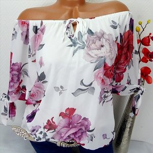 H40 Off Shoulder Floral Print Blouse Women Plus Size Shirts Short Sleeve Blouse Pullover Tops Shirt Blosues Blusa Feminina