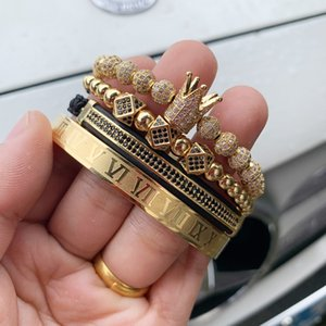 4pcs Set Luxury Copper beads King Crown Men Bracelet Stainless steel bangle CZ Ball macrame bracelets & bangles for Men Jewelry Q1201