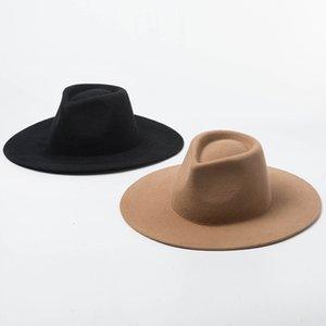 2020Classical Wide Brim Porkpie Fedora Hat Camel Black 100% Wool Hats Men Women Crushable Winter Hat Derby Wedding Church Jazz Hats Y200110